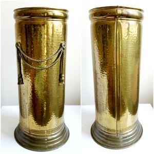 Vintage Mid Century Hammered Brass Umbrella Stand